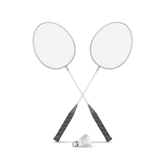 Badminton rackets with shuttlecock isolated
