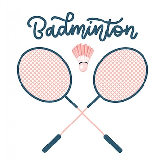 Badminton rackets with shuttlecock. sports equipment concept with hand drawn lettering.  flat illustration.