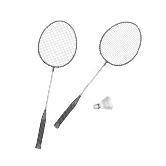 Badminton rackets with shuttlecock