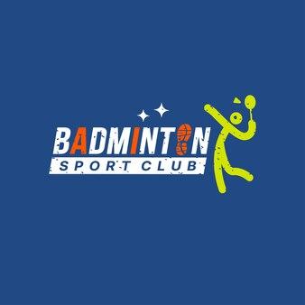 バドミントンスポーツロゴデザイン、バドミントンレタリングタイポグラフィアイコン。スポーツトーナメントのロゴタイプの概念