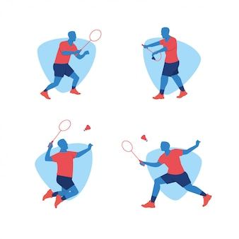 Badminton sports player vector design