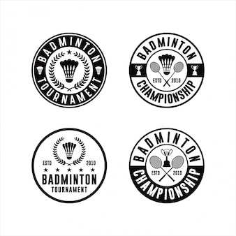 Badminton tournament logo set