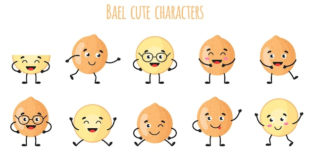 Bael fruit cute funny cheerful characters with different poses and emotions. natural vitamin antioxidant detox food collection.   cartoon isolated illustration.