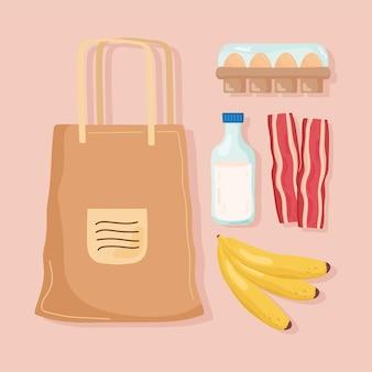 Сумка и значки продуктов