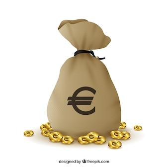 ユーロ記号とコインのバッグの背景