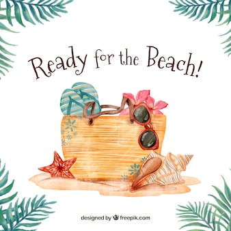 Bag background with watercolor beach elements
