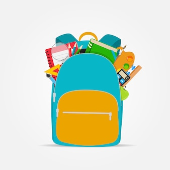 Bag, backpack icon with school accessories