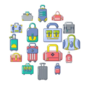 Bag baggage suitcase icon set, cartoon style