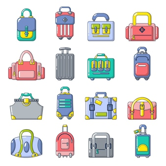 Bag baggage suitcase icons set