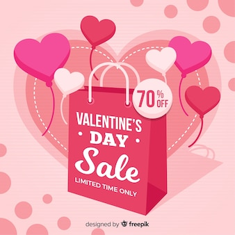 Bag and balloons valentine sale background