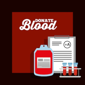 Bag blood test tube and clipboard donation poster
