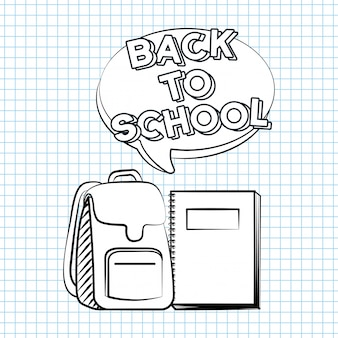 Bag and book, back to school illustration