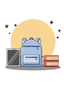 Bag, book tablet cartoon illustration