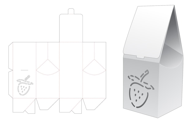 Bag box with strawberry shaped stencil die cut template