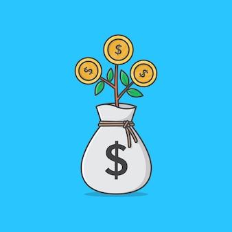 Bag for dollar money with money tree . money tree flat
