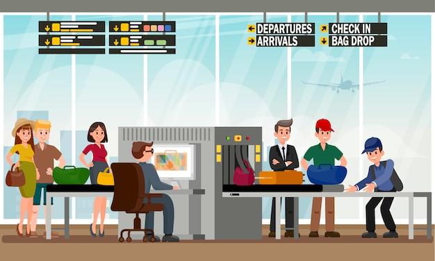 Bag drop service in airport flat illustration.