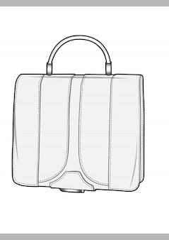Bag fashion technical drawings vector template