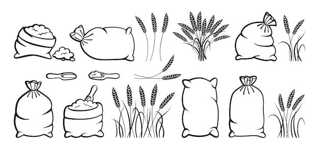 Мешок муки и колосья пшеницы, набор эскизов куча муки, сбор колосков зерна