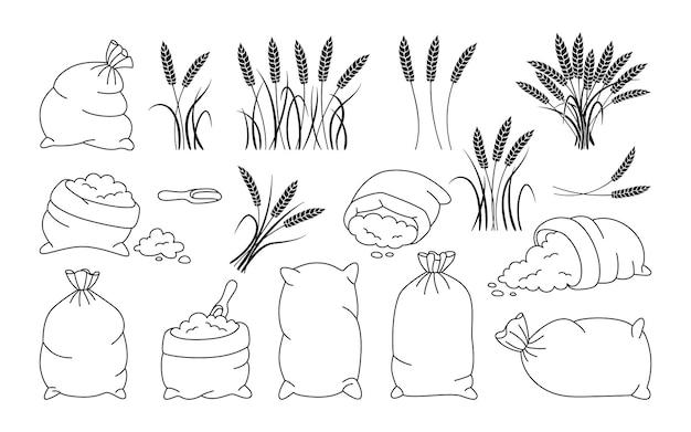 Bag flour and wheat ears, black line set heap flour, grain spikelets collection