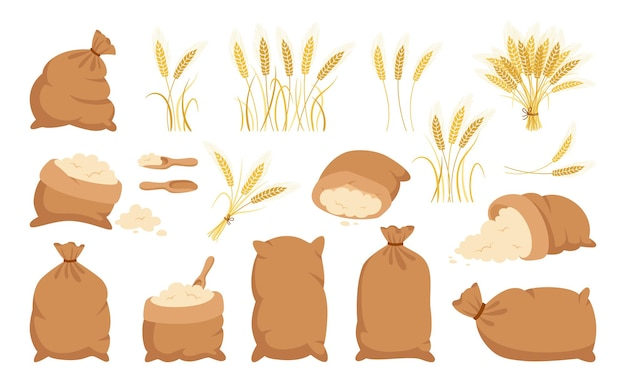 Bag flour and wheat ears, cartoon set heap flour, gold grain spikelets collection