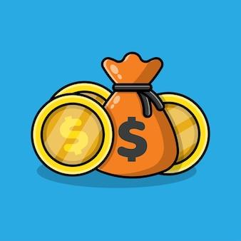 Bag of money coin cartoon illustration