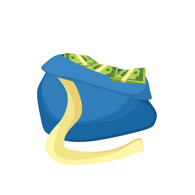 A bag of money. paper bills and gold coins. a symbol of wealth. vector cartoon illustration.