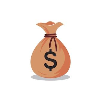 Мешок с деньгами шаблон логотипа, мешок денег векторная иллюстрация