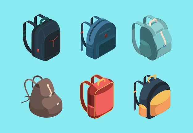 Сумка пакетная изометрическая. школьный портфель для символов образования детей или багажа для векторной коллекции путешественников. школьный рюкзак и рюкзак, рюкзак для багажа, иллюстрация рюкзак для ноутбука