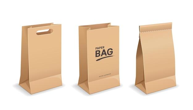 가방 종이 갈색 색상 모의 컬렉션 디자인, 흰색 배경에 고립