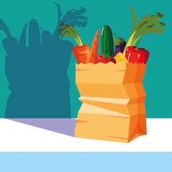 Bag paper with set vegetables fresh