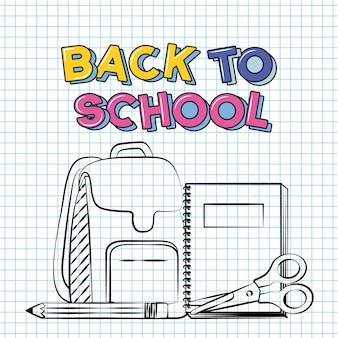 Сумка, карандаш, ножницы, тетрадь, снова в школу каракули нарисованы на сетке листа