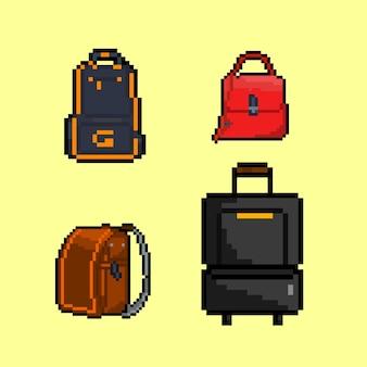 픽셀 아트 스타일의 가방 세트
