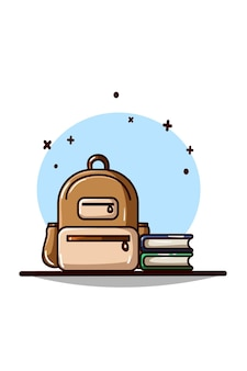 Bag and two books vector illustration