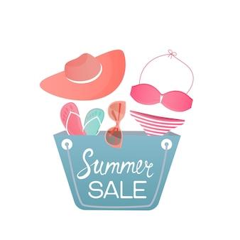 Сумка с пляжными женскими аксессуарами. купальники, шапка, очки, тапочки. шаблон дизайна для летней распродажи.