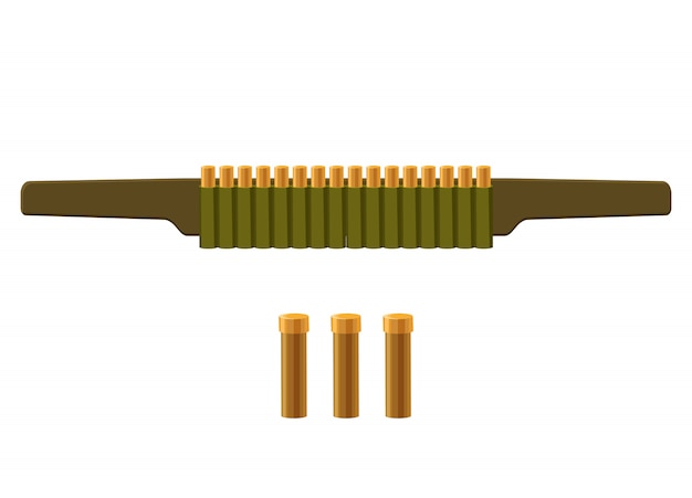 Bag with bullets icon in cartoon style