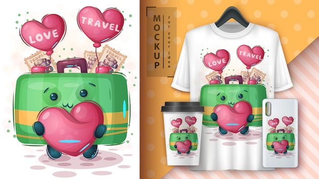 Bag with heart for poster and merchandising