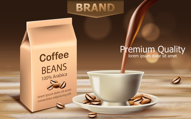 Bag with premium quality arabica coffee beans with a cup near with liquid pouring from top. place for text.