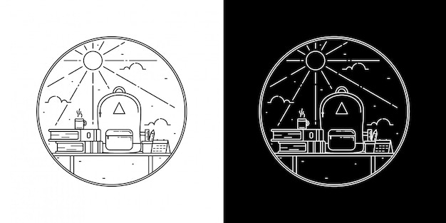 太陽モノラインバッジデザインのバッグ