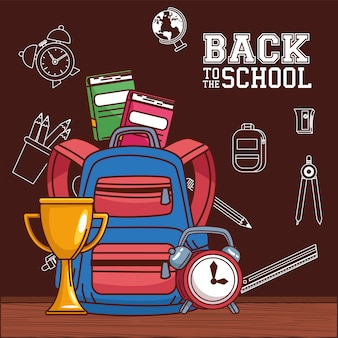 Bag with trophy notebooks and clock design, back to school eduacation class and lesson theme