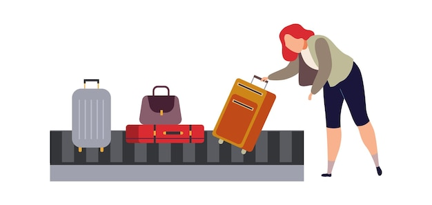 Baggage carousel in airport. woman traveler picks up luggage and suitcase from bag flat carousel concept