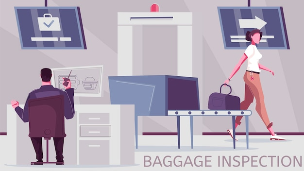 Illustrazione controllo bagagli e posto d'ispezione frontaliero con attrezzatura per controllo bagagli