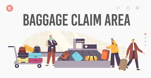 Baggage claim area in airport landing page template. tourists characters taking luggage in carousel after airplane flight. plane arrival, departure, tourism concept. cartoon people vector illustration