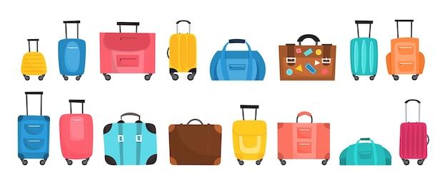 여행용 수하물 세트. 다양한 가방의 큰 컬렉션