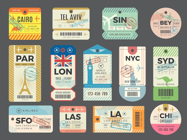 Baggage retro tags. traveling old tickets flight labels stamps for luggage set.