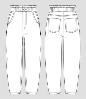 バギーフィットジーンズ。ハイウエストの紙袋パンツ。女性のカジュアルウェア。ベクトルテクニカルスケッチ。モックアップテンプレート。