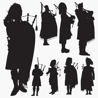 Bagpiper silhouette set