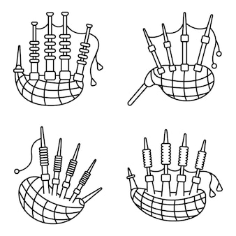 Bagpipes icon set. outline set of bagpipes vector icons