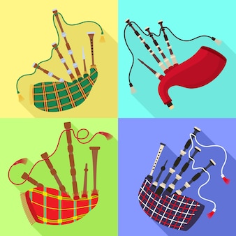 Bagpipes icons set. flat set of bagpipes vector