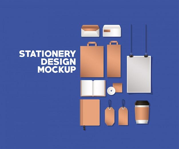 バッグとモックアップは、コーポレートアイデンティティと文房具のデザインテーマのベクトル図の青色の背景に設定