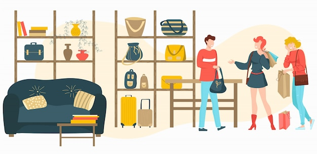 Bags, baggage store with people customers buy fashion bag in boutique shop, sale  cartoon  illustration.